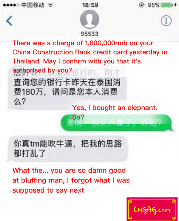 Chinese conman bluff chat history