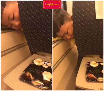 funny cute kid on train starving